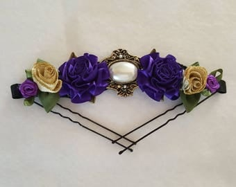 Purple and Gold Majestic Ballet Bun Pin