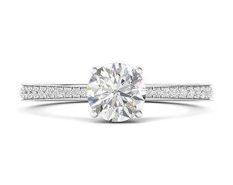 Four-prong Round Diamond Ring in Channel Setting