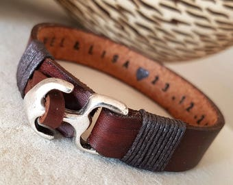 Personalized Gift for Boyfriend Gift for Men Bracelet Leather Man Jewelry Leather Bracelet Customized Plate