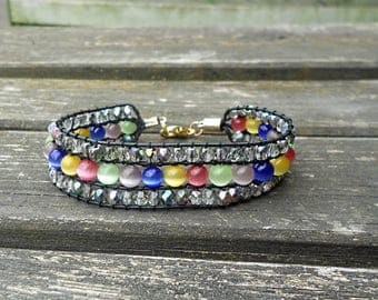 Wrap bracelet 3 rows of multicolored