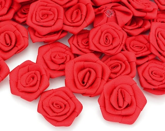 Haberdashery 20 flowers applied deco Ribbon grosgrain red size 3 to 4cm