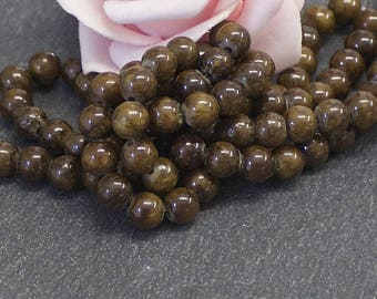 x 20 chocolate mountain jade round beads 6 mm PEJ121 two-tone