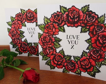 A Dozen Red Roses, Valentine Card, Greeting Card, Hand Printed, Lino Cut, Red Roses,