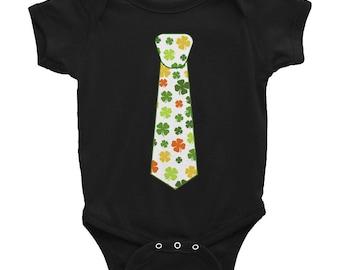 St Patrick's day Irish Shamrock tie Infant Bodysuit