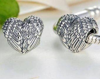 Pandora charm silver Angel feather wings  heart fits all pandora bracelets and jewellery making craft bracelets