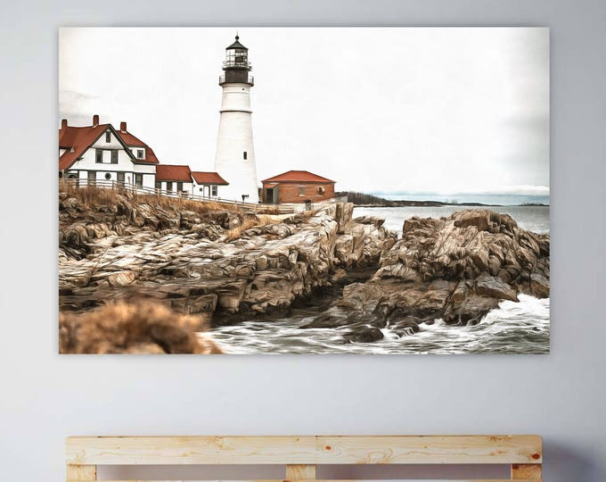 Portland Head Lighthouse, Faro, USA Poster, canvas, Interior decor, room design, print poster, USA picture, art picture, gift, poster