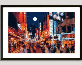 Asian Street, painting, wall, print, decorative, home, office, restaurant, decor, apartment, art, illustration, picture, image, japan, china