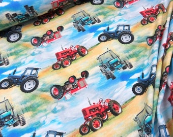 Tractor - ORGANIC JERSEY knit fabric, digital printed cotton lycra