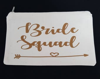 Bride squad make up bag pencil case storage bag make up brush bag bow bag can have many uses zipped bag cotton bag hen party wedding day