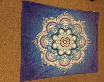 Mandala Throw Bkanket Blue