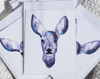 "Purple Watercolour Deer Card - 10cm x 40cm; 4""x 5.5"""
