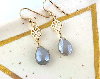 Moonstone Dangle Earrings, Fall Wedding, Great Bridesmaid Gift or Perfect for Boho Bridal Jewelry, Boutique Style Jewelry