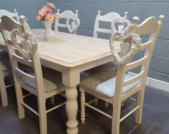 Stunning Shabby Chic 6f table set finished in cream or white