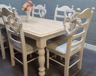 Stunning Cream 6ft x 3ft Bespoke Farmhouse Table Set