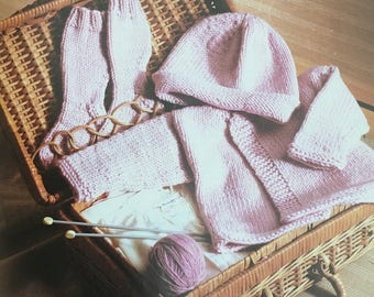 PDF Knit Baby's Sweater, Hat and Stay-On Socks