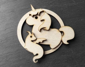 Unicorn and baby dragon wood nursery wall hanger - fantasy inspired Christmas ornament - mother and child keepsake