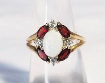 10K Gold Opal Garnet and Diamond Ring