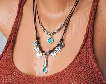 boho necklace leather, leather necklace for women, bohemian necklace, gypsy necklace, tribal necklace, hippie necklace