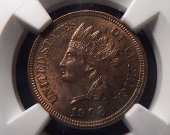 1908 Indian Head Cent MS64RB NGC