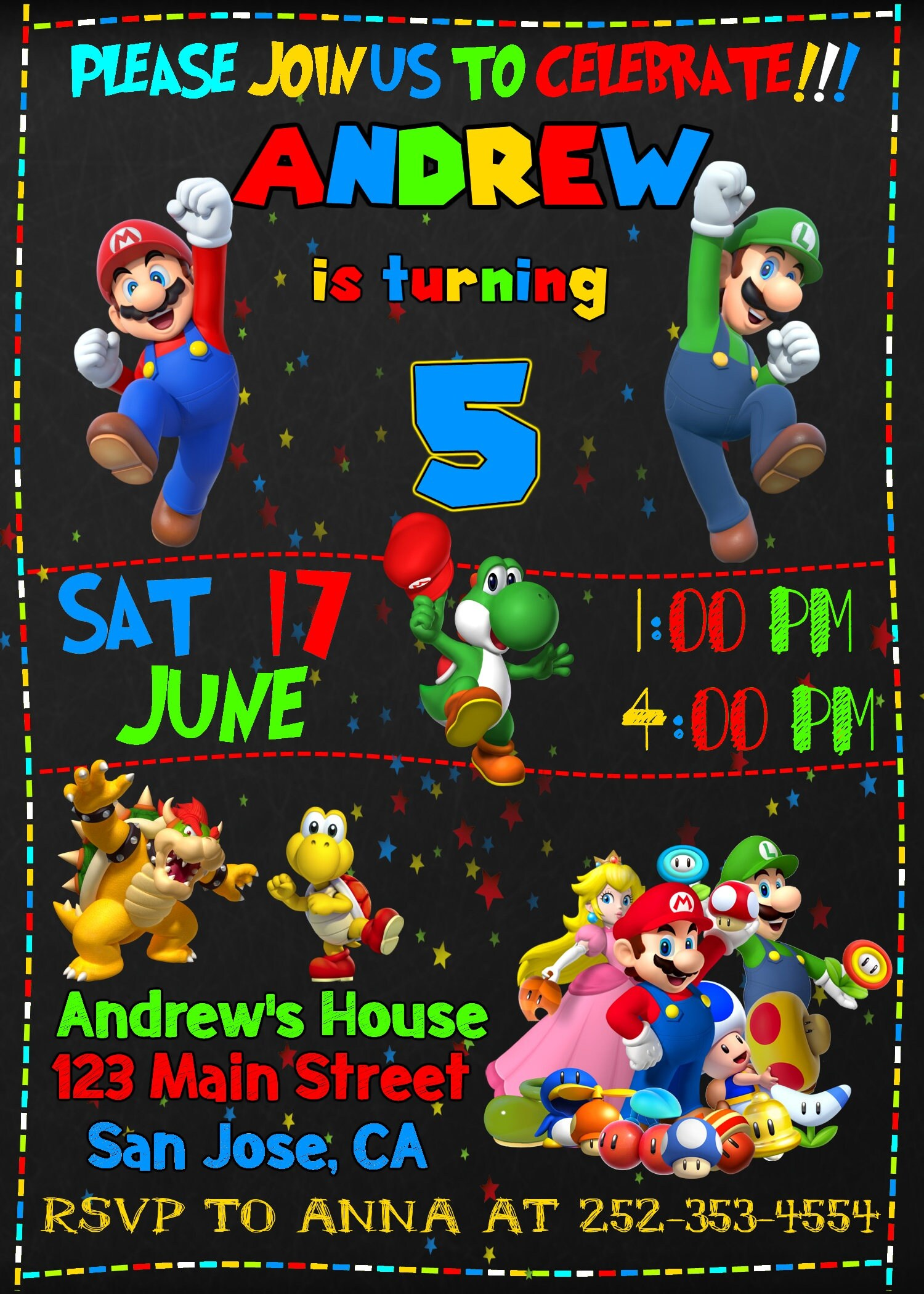 Super Mario Invitation, Super Mario Birthday Invitation, Super Mario ...