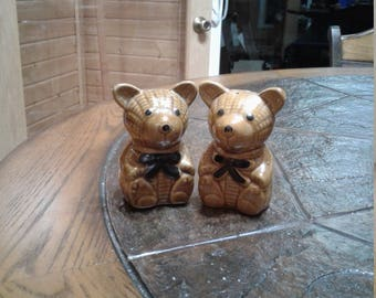 Vintage Sophia-ann teddy bear salt and pepper shakers