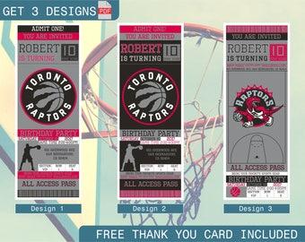Toronto Raptors Birthday Invitation, Printable Ticket Party Invitation, Basketball Personalized Birthday Invite, Digital Files