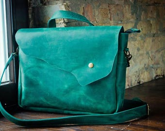 Green Shoulder Bag Natural Leather Bag Crossbody Bag Shoulder Boho Bag Green Leather Bag Shoulder Bag Shoulder Purse