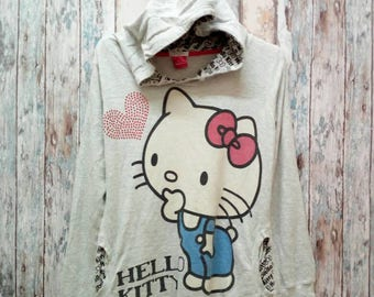 Hoodies Hello Kitty Bootleg Big Logo Spell Out