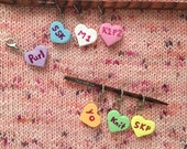 Candy Heart Knitting Stitch Marker, Progress Keeper, Crochet, Miniature Food, Polymer Clay Charm, Knitting Abbreviations, Collectibles
