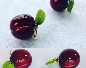 Cherry earrings red cherries earrings red cherries jewelry polymer clay jewelry gift for her berry jewelry dangle fruit cherry birthday gift