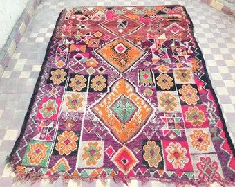 Vintage Boujad carpet, moroccan carpet,Boujad rug, vintage carpet,215x180cm, berber textiles, berber carpet,