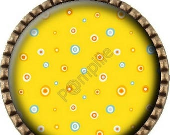 Cabochon - bronze pendant with yellow dots (609)