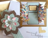 Celebrate, You, Birthday, Card, 3-D, Explosion, Pop Up, Happy Birthday, BDay, Feminine, Handmade, 3D, Pop-Up, Folded, Green, Balloons