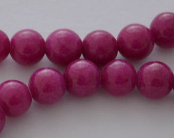 65 beads natural jade 6 mm Fuchsia color