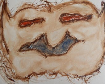 Original Watercolor Painting Sad Ugly Weird Monster Face Creature on Watercolor Paper 11 x 15