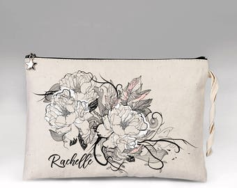 Floral Make Up Bag, Personalized Makeup Bag, Makeup Bag, Make Up, Bridesmaid Gift, Makeup Case, Cosmetic Bag, Makeup Organizer, Gift for Her