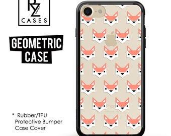 Geometric Case, Animal Phone Case, iPhone 7 Case, Fox Phone Case, iPhone 6, Geometric, iPhone 7 Plus, Fox iphone, Rubber, Bumper