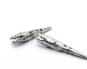 x 2 cones filigree, silver, 42mm: AE0042