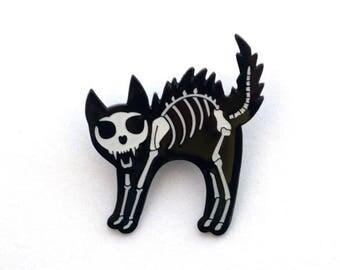 Skeleton Cat - Black and White Bone Cat Halloween Enamel Pin