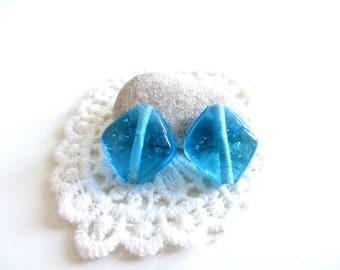 2 glass beads Indian ciel15mm Blue Diamond