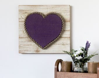 """12"""" Burlap Wood Heart on Weathered Cypress Frame - rustic heart, burlap heart, heart decor, wedding decor, valentine's day, purple heart"""