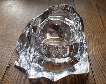 Muurla Clear Glass Candle Holder Iceberg Finland Design Vintage 1970's
