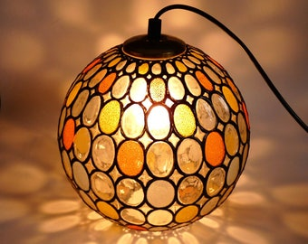 Hanging Stained Glass Lamp Sphere Retro Vintage 1960's