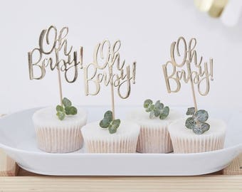 Oh Baby! Gold foiled cake toppers,baby shower cake toppers