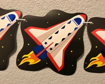Spaceship Banner, Rocketship, Classroom Decor, Party Decorations, Party Supplies, Party Sign, Garland, Streamer, Kid's Birthday Party