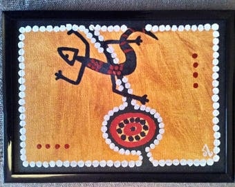 Small Aboriginal painting framed photography