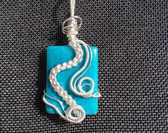 Blue Dragons Vein Necklace, Wire Weaved Pendant, Dragons Vein Pendant