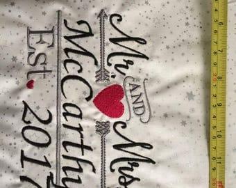 Machine Embroidery Wedding on Canvas