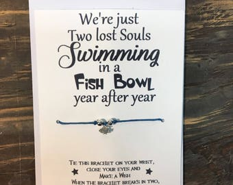 We're just two lost souls swimming in a fish bowl wish bracelet.Fish wish bracelet.Pink Floyd wish bracelet.Pink Floyd jewelry