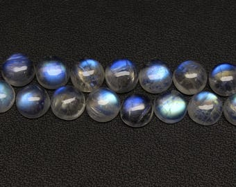 Natural Rainbow Moonstone Flash fire Size 7x7 MM Approx 5 PCs Round Shape Cabochon Code- HR15